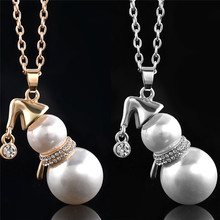 Vintage Retro Fashion Simulated-pearl Snowman Pendant Necklace For Women Crystal Christmas Gift Gold Silver Color цены