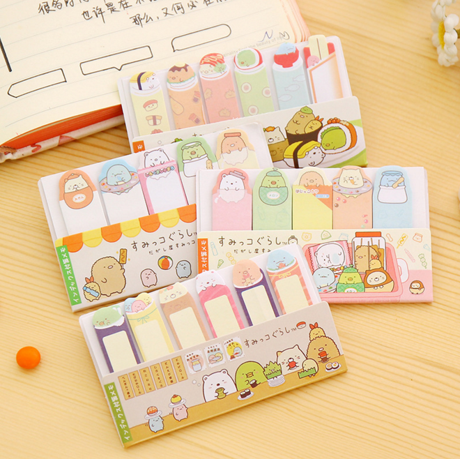 2Pack Korea style Stationery Writing Pads Kawaii Corner creature mini message post Sticky note Memo pads Office School Supplies