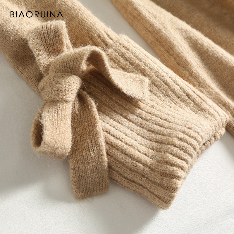 BIAORUINA Women's Fashion All-match Loose Knitted Sweater Ladies Casual Turtleneck Pullovers Bow Lace Up Warm Sweet Sweaters 5