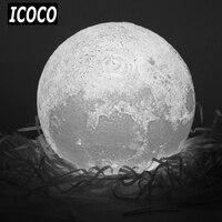 ICOCO 3D Print Simulation Moon LED Nightlight Touch Control USB Charging Desk Lamp 8 10 12