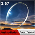 1.67 близорукость очками линзы-зеленый покрытие прозрачный линзами анти-уф и жесткий линзами