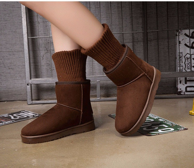 KUYUPP Patchwork Knitting Wool Women Snow Boots Winter Shoes 2016 Flat Heels Warm Plush Ankle Boots Slip On Womens Booties DX119 (51)