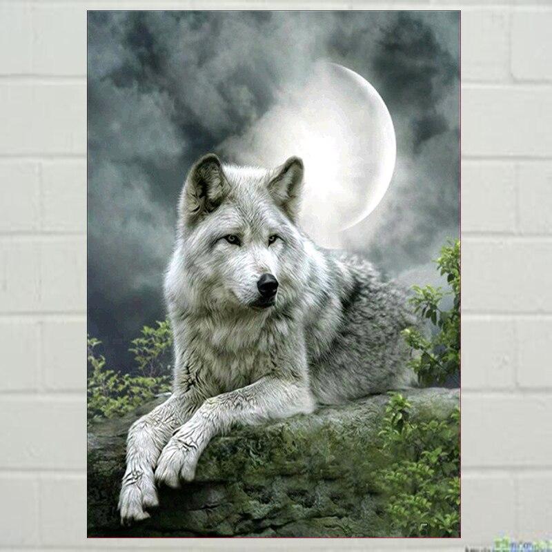 Us 804 30 Offdiamant Malerei Diy Kit Kindspielzeug Schnee Wolf Wölfe Tier Durchgang Baby Wohnzimmer Speisesaal Home Hotel Büro Geschäft Deco In