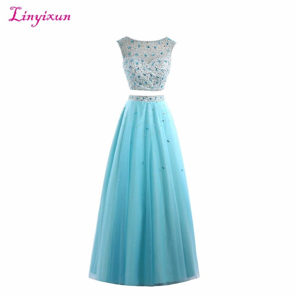 Платье Linyixun для выпускного бала из двух предметов, 2017 длинное формальное вечернее платье, расшитое бусинами и кристаллами