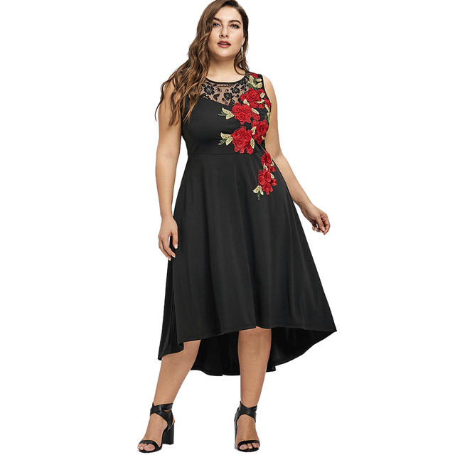 Kenancy Plus Size 5XL Women Party Dress Embroidery Flower Lace Club Long  Vestidos de festa Vintage Irregular High Low Dresses 15e2947a2b11