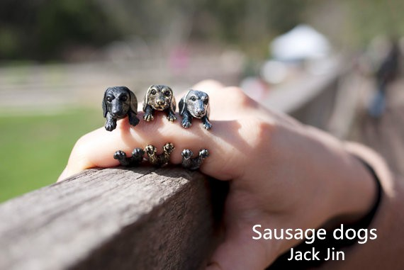 Wholesale Unique Retro Sausage Dogs Adjustable Ring High Quality Design Mens Dachshund Promise Rings Women Gift Overwatch Aros