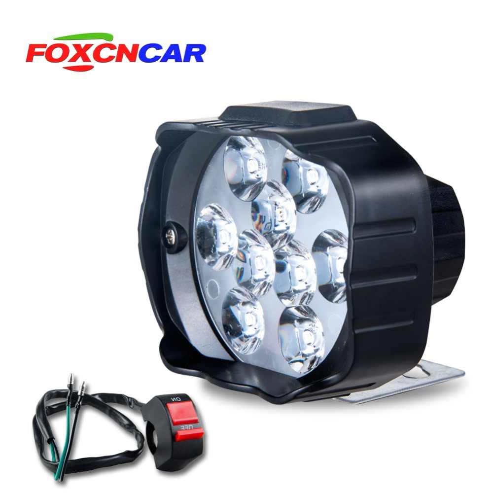 LED Motorcycle Headlight Scooter ATV 12V 6500K Fog Spotlight LED Motorbike Moto Working Spot Light With switch DRL Car Headlamp