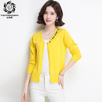 Spring Cardigan Women Korean V Neckline Patch Knitted Cardigans Seater Ladies Long Sleeve Loose Buttons Cardigan