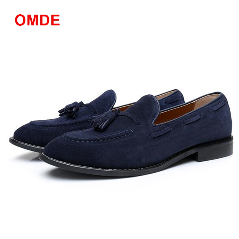 OMDE LTTL Blue Men Suede Leather Shoes Handmade Men Tassel Loafers Fashion Man Casual Shoes Party And Banquet Smoking Slippers pink suede mens shoes newest style fashion men tassel loafers plus size men s smoking shoes summer men party and prom shoes