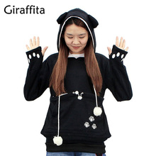 Giraffita Cat Lovers Hoodies With Cuddle Pouch Dog Pet Hoodies For Casual Kangaroo Pullovers With Ears Sweatshirt Drop Shipping