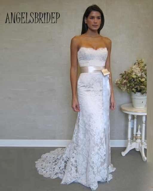 ANGELSBRIDEP 2017 Sexy Lace Mermaid Bridal Gown Wedding Dress Women Clothing Set Long Stock