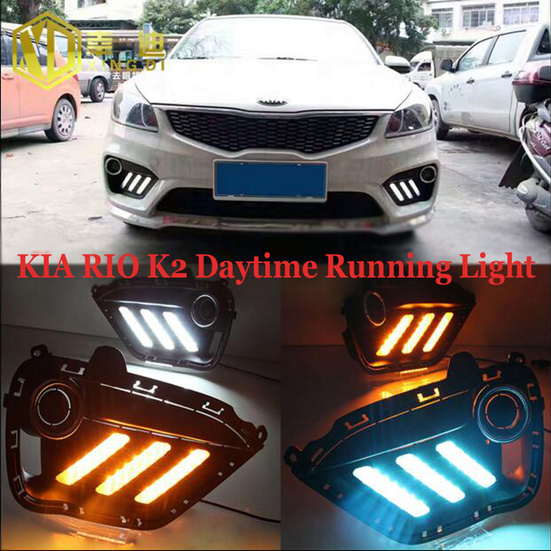 ФОТО Hireno Super-bright LED Daytime Running Light for KIA RIO K2 2016 2017 Car LED DRL fog lamp 2PCS