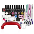 New Professional gel nail kits,18W UV Lamp 7pcs UV color gel, primer top coat Nail Art decoration Tool Kits manicure set