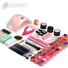 BURANO 24W UV LED Nail lamp dryer 36 color uv led building gel nail remover set brush file kit nail art manicure tools sets kit