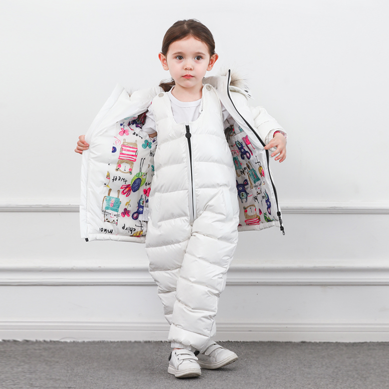 Image 5 - Winter Children Down Suit Long  Zipper Solid White Duck Down Boys Girls Down Jackets Thickening Jacket + Pants Two piece Clothes-in Clothing Sets from Mother & Kids