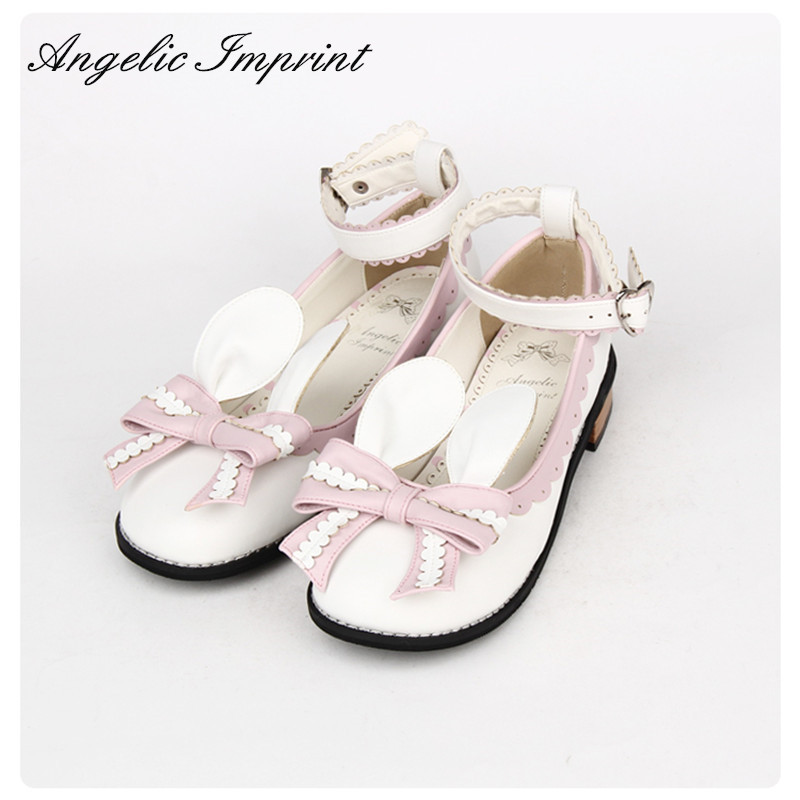 Japanese Cute Rabbit Ear Bow Comfortable Round Toe Sweet Lolita Shoes Girls Ankle Strap Low Heel Shoes new arrivals pale pink shiny leather kawaii rabbit ankle strap sweet lolita shoes 5 5cm heel pumps