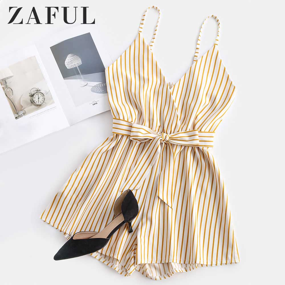ZAFUL Striped Surplice Cami Romper Casual Brief Regular Striped Female Backless Playsuits Urban Shorts Summer Women Jumpsuits