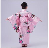 Child Novelty Cosplay Floaral Dress Japanese Baby Girl Kimono Dress Children Vintage Yukata Kid Girl Dance