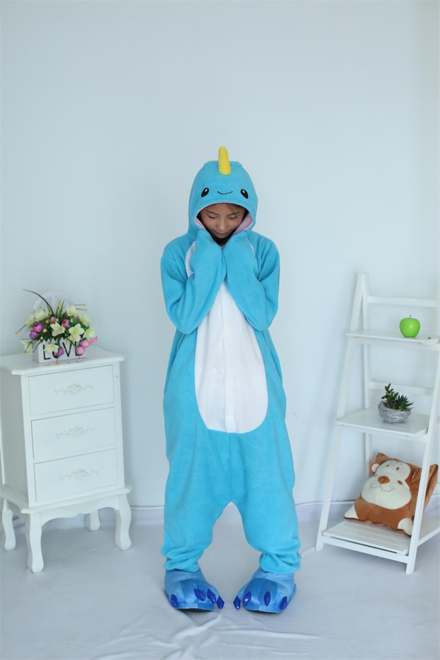 For Halloween Christmas New Adult Narwhal Pajamas Animal Cosplay Costume Sleepwear Pyjamas Unisex Onesies Cartoon Sleepsuit