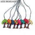 Beads Rainbow Life Tree Pendant & Necklace Christmas Tree Colorful Pendant Necklaces Wood Beads Tree Pendants With Leather Chain