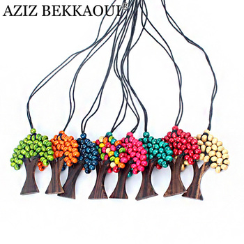 Beads Rainbow Life Tree Pendant & Necklace Christmas Tree Colorful Pendant Necklaces Wood Beads Tree Pendants With Leather Chain bead