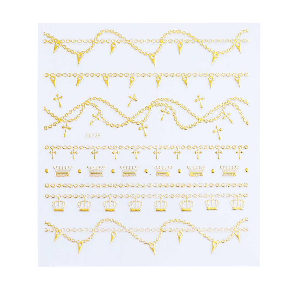 1 pièces or 3D ongle curseur décalcomanies géométrie Nail Art autocollant paillettes métal creux Floral vigne adhésif manucure décor BEDP325-348
