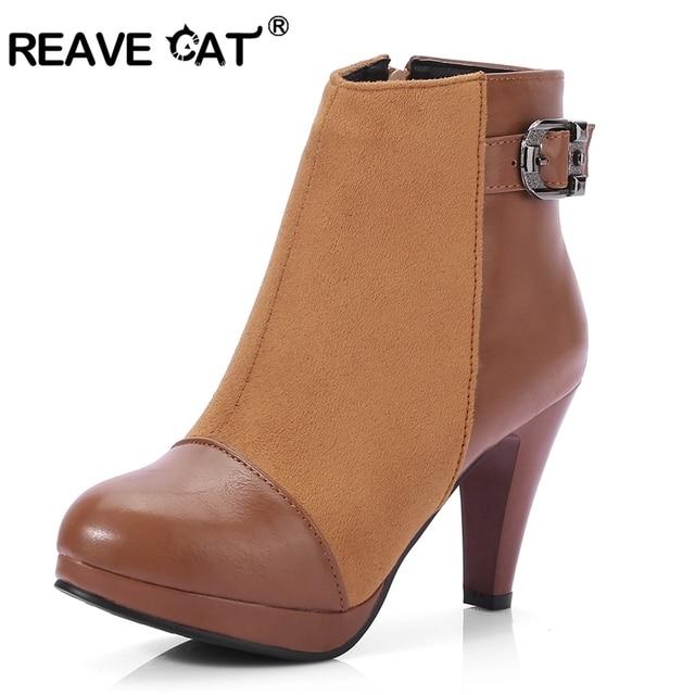 cb075011e2 REAVE gato moda mujer Botas tacones altos botines zapatos de plataforma  marca mujer Zapatos Otoño Invierno