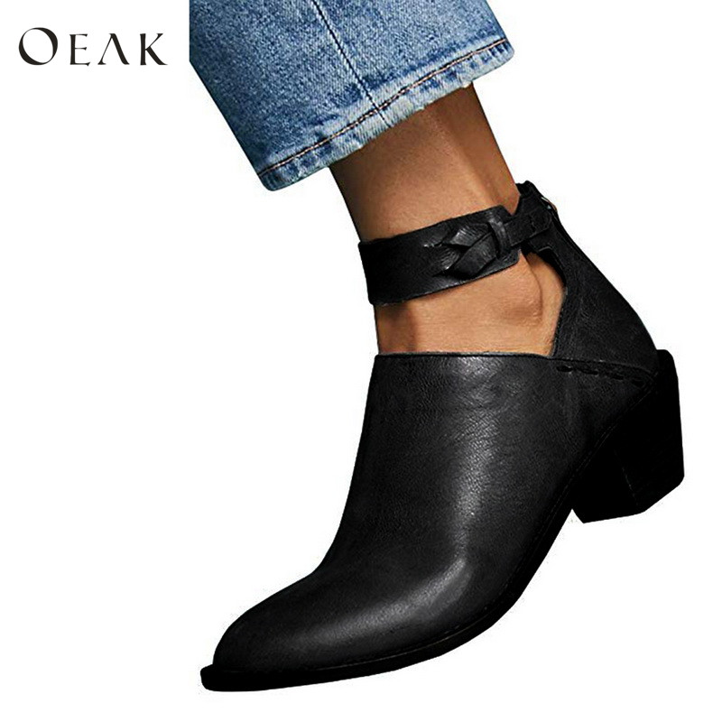 Oeak Womens Cut Out Booties Buckle Strap Back Zipper Leather Stitch Ankle Casual Boots Female High Quality Ladies Shoes cut out back daisy print blouse