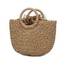 Новинка модные женские туфли Сумки из натуральной кожи ручной работы плетеная солома сумка большой вместимости, летняя пляжная сумка вечерние покупок BS88