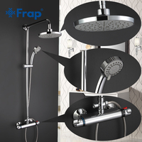 Frap New Shower Faucet Set Bathroom Thermostatic Faucet Chrome Finish Mixer Tap ABS Handheld Shower Wall