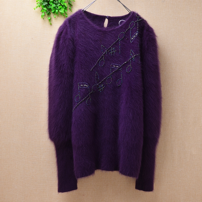 Pullover Sweater Lantern-Sleeves Cashmere-Knitted Loose Plush Long Winter Women Ladies