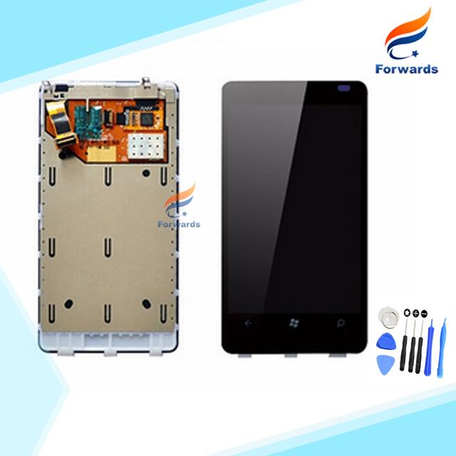 100% Nueva Prueba para Nokia Lumia 800 N800 Pantalla LCD asamblea con pantalla Táctil + Marco + Herramientas Gratuitas 3.7 pulgadas 1 unidades envío gratis