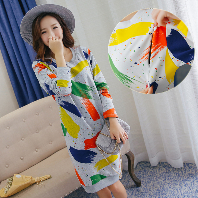 Graffiti Print Maternity Clothes for Breastfeeding Long Sleeve Nursing Dresses Cotton Pregnancy Clothing for Pregnant Women