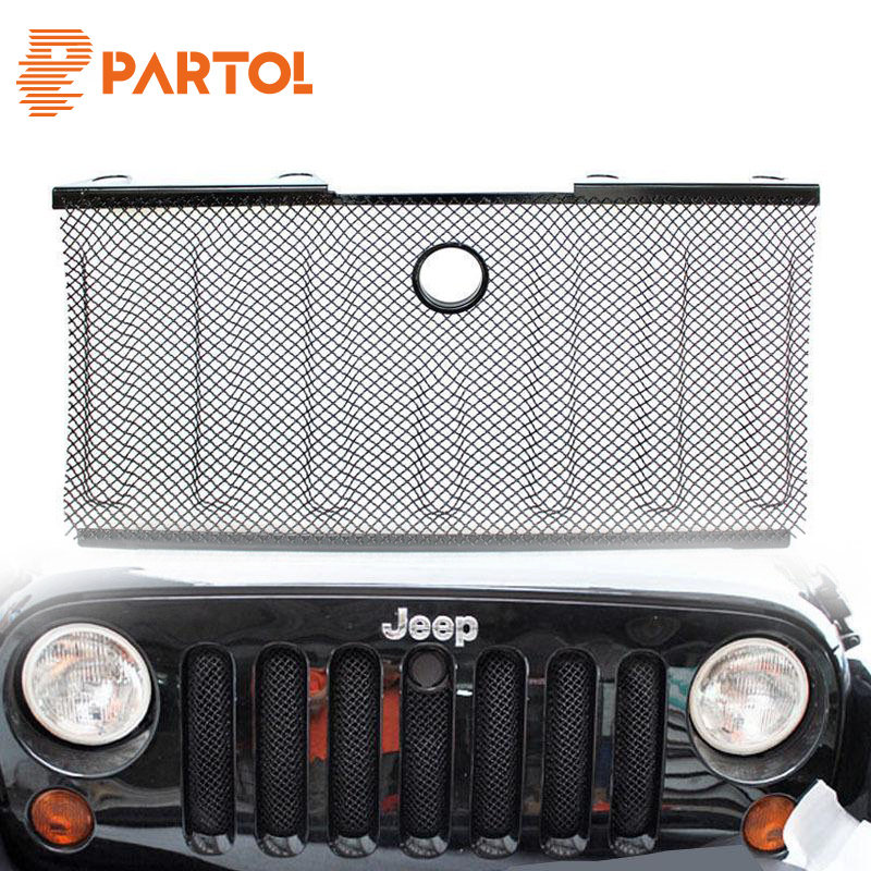 Partol 3D Grille Mesh Grill Insert With Lock Hole Stainless Steel Radiator Protector Front For Jeep Wrangler JK 2007 2008-2015 front grill mesh grill insert set cover front grille sticker racing grills trim for jeep wrangler jk 2007 2015