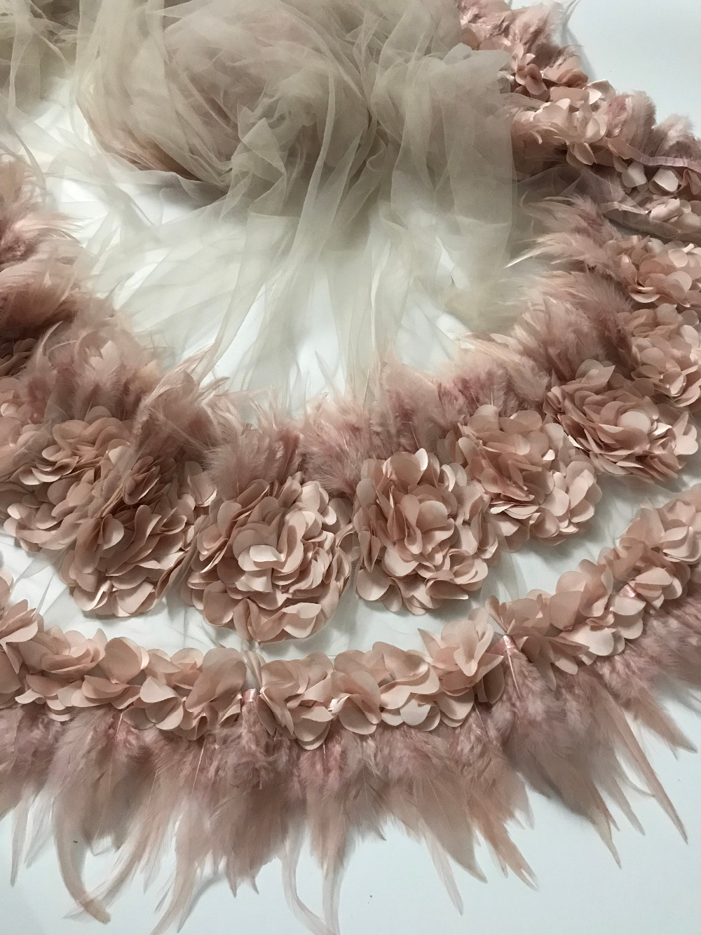 Lace fabric African High Quality Feather lace tassel Fabric handmade,French Voile Mesh Lace Fabric for wedding dresses