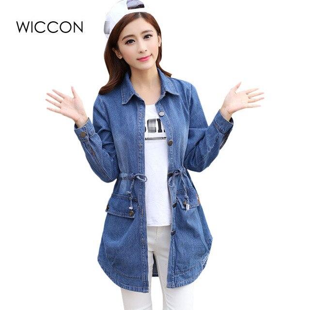 Dây rút Eo Phụ Nữ Denim Cơ Bản Áo Khoác Mùa Thu Phụ Nữ Đầy Đủ Tay Áo Lỏng Lẻo Nữ Jeans Trench Coat Cô Gái Giản Dị Outwear WICCON