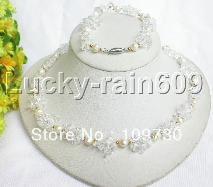 Jewelry 00310 beautiful SET Natural white pearls chip crystal necklace bracelet