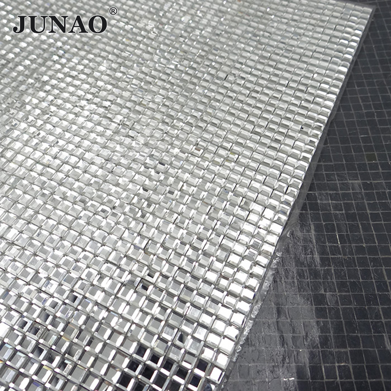JUNAO 24*40cm Hotfix Clear Square Rhinestones Mesh Fabric Glass Crystal Trim Strass Crystal Applique Banding For Clothes Jewelry