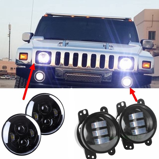 For Hummer H1 H2 Headlights 4 Quot Led Fog Light 2x H4 7inch