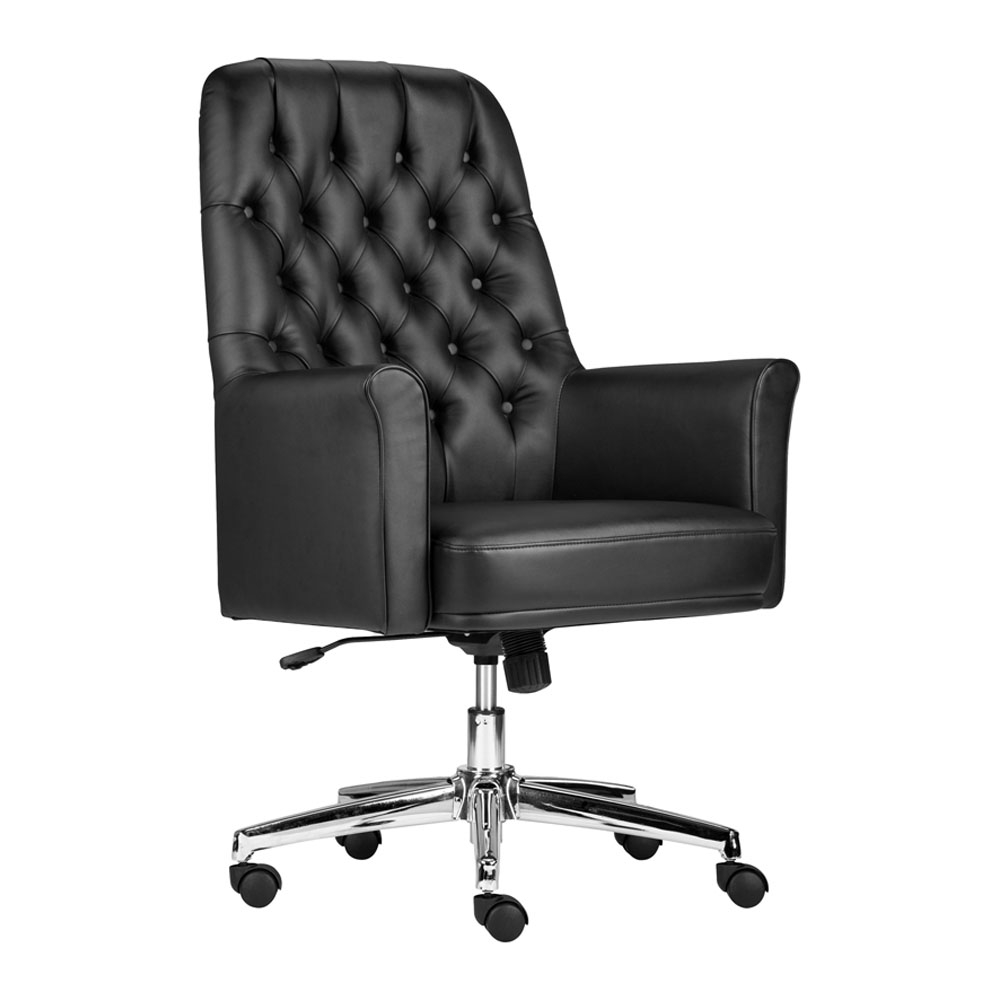 Flash Furniture Mid-Back Traditional Tufted Leather Executive Swivel Chair with Arms ...