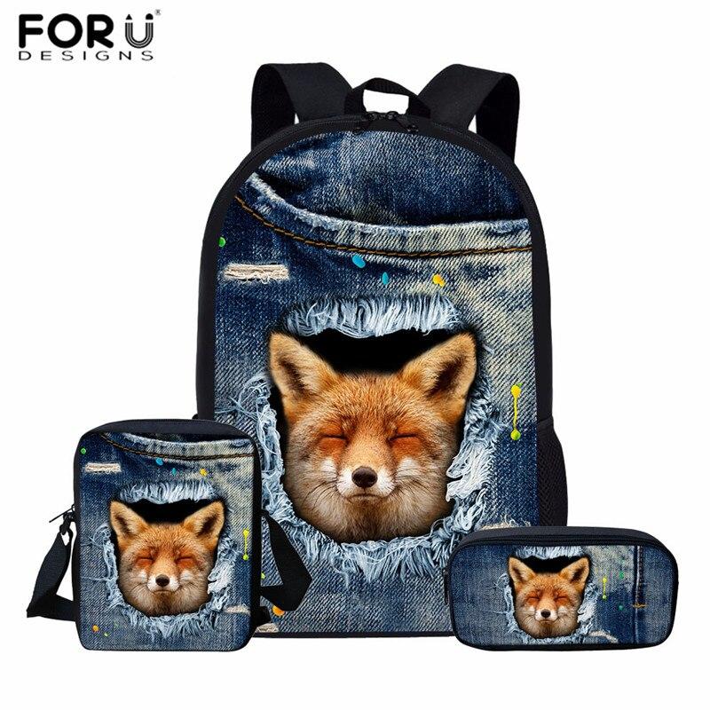 FORUDESIGNS Kids School Bags Boys Girls Book Bag 3D Jeans Fox Prints Schoolbags For Teenage Casual Backpack Mochila Escolar