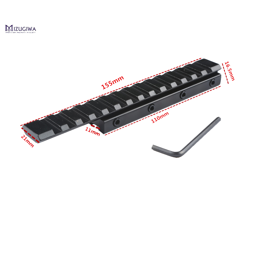 Extend Scope Mount 11mm To 20mm/21mm Dovetail Rail Weaver Picatinny Rail Adapter Extensible Hunting Scope Laser Base 155MM Caza