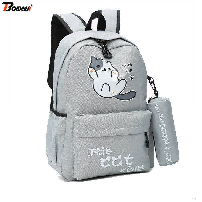 Cute Cat Backpack School Bags For Teenage Girls College Wind Nylon Back Pack Women Solid Large Casual Backbag Bagpack Mochila