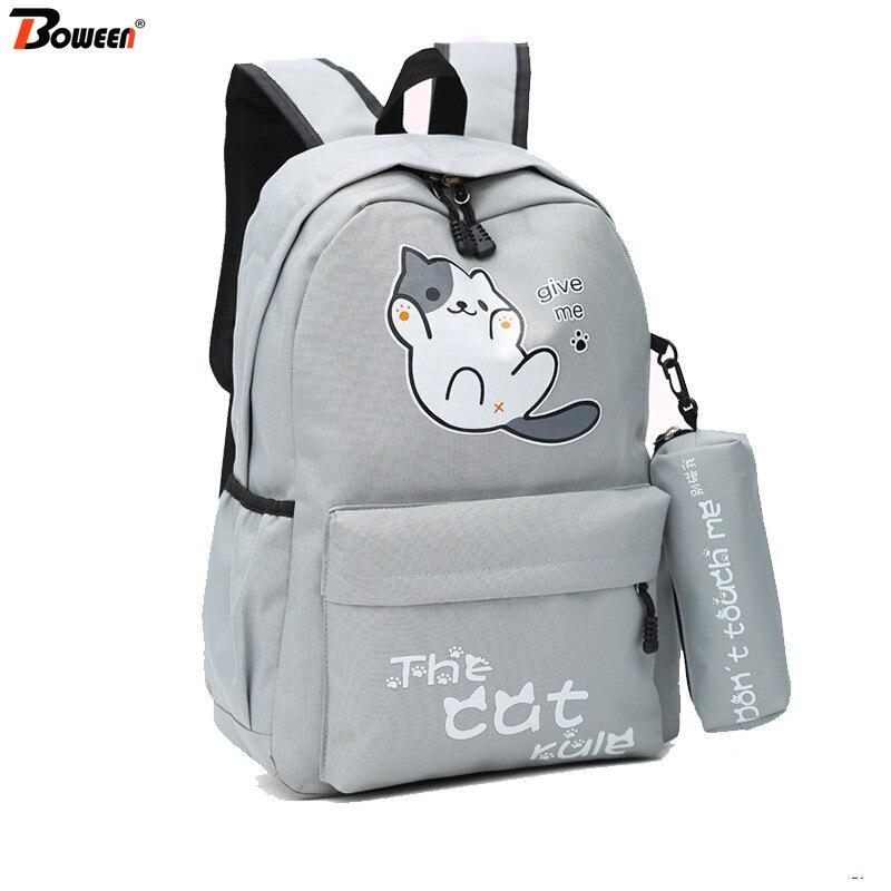 65f1765fd116 Милый кот рюкзак школьные сумки для девочек подростков колледж Ветер Нейлон  back pack для женщин сплошной