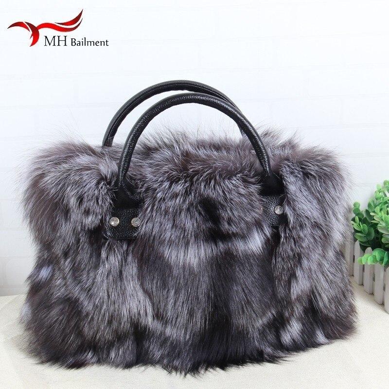 New Fashion Leather Grass Bag 100% High Quality Fox Fur Single Piece Bag Pull Edge Bag Furry Women Bag Shopping Essential Bag B2