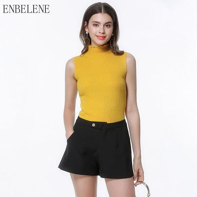 4277b092b0c8b7 Summer Tops Women Vest for Female Yellow Black Sleeveless Top Womens Simple  Knitted Tank Tops Solid