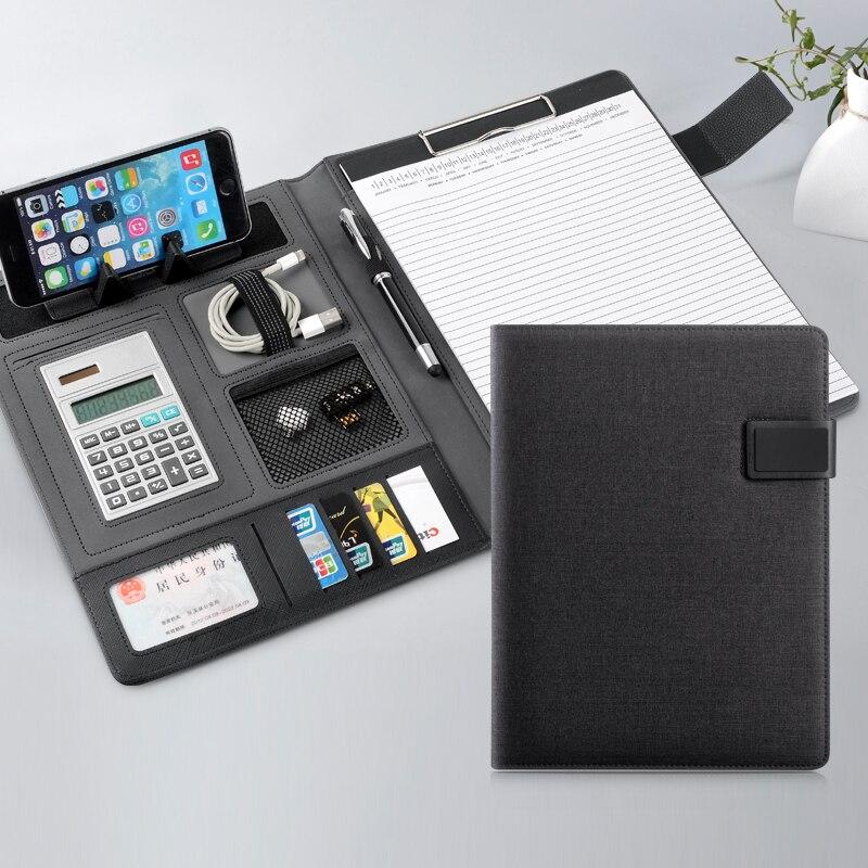 A4 PU En Cuir Bureau Écritoire Multi Fonction Bloc-Notes Fichier Dossier avec la Calculatrice Noir et Bleu Bureau Accessoire De Bureau