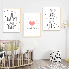 Pink Be Happy Cartoon Baby Posters And Prints Nursery Wall Art Kids Room Canvas Poster Print Quote Unframed