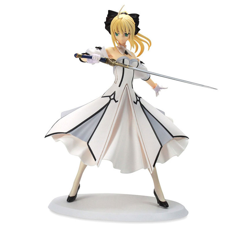 Free Shipping 7 Fate Stay Night FSN Anime Saber Lili White Dress Ver. Boxed 18cm PVC Action Figure Model Doll Toys Gift free shipping 7 anime super sonico with macaroon tower boxed 17cm pvc action figure collection model doll toy gift