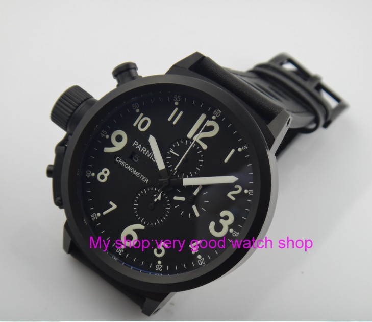50mm PARNIS black dial Japanese quartz movement Chronograph multifunction men's watch Auto Date Quartz watches PVD case SY14 50mm parnis black dial japanese quartz movement chronograph multifunction men s watch auto date quartz watches pvd case sy14